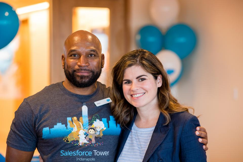 Salesforce employees at the opening of Salesforce Tower in Indianapolis