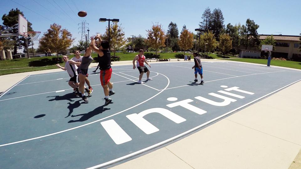 Friendly Competition -- Fitness centers at Intuit give employees the chance to work out, blow off a little steam or play a friendly game of hoops. The centers, open 24/7, offer group exercise classes, personal trainers, recreational activities and massage therapy.