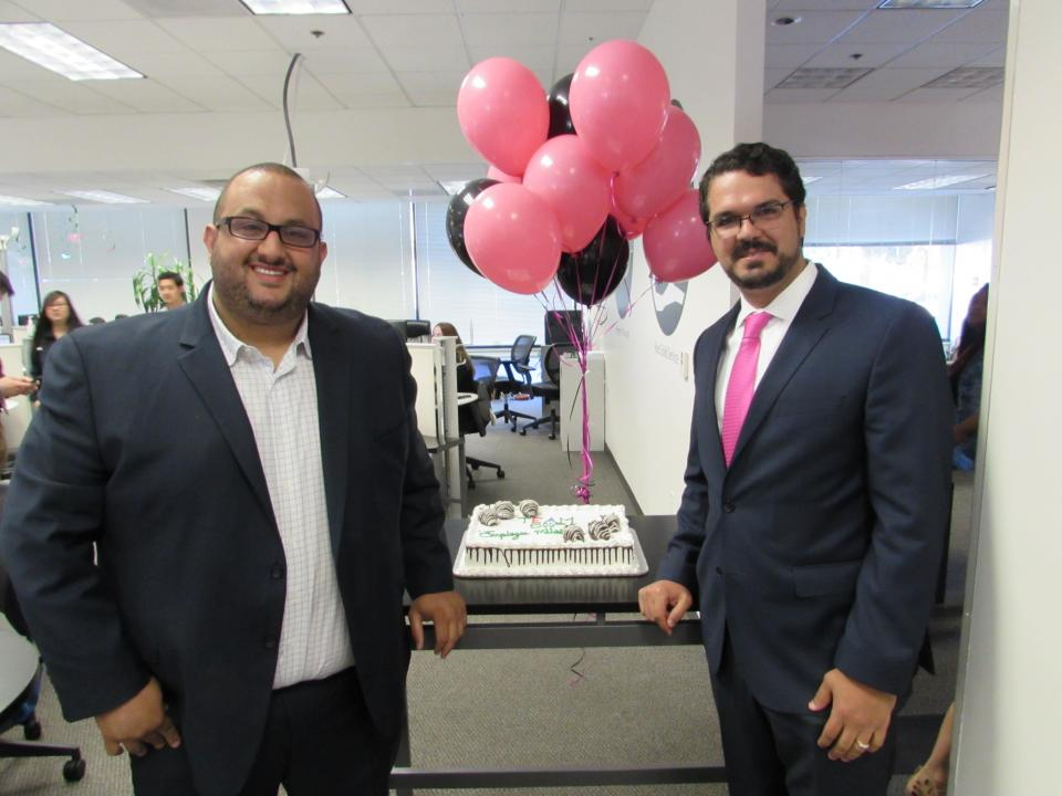 Here are two of the owners celebrating hitting 500 employees.