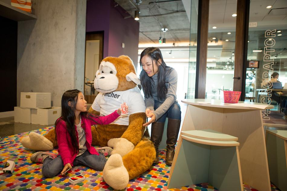 "Employees often bring their kids to spend time together. Kids enjoy playing in the ""Jungle Gym"" at our HQ in San Mateo."