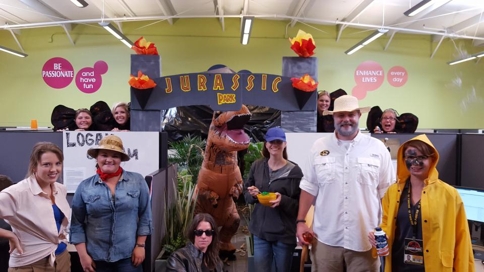 Employees in the closing department celebrated Halloween with a Jurassic Park theme.