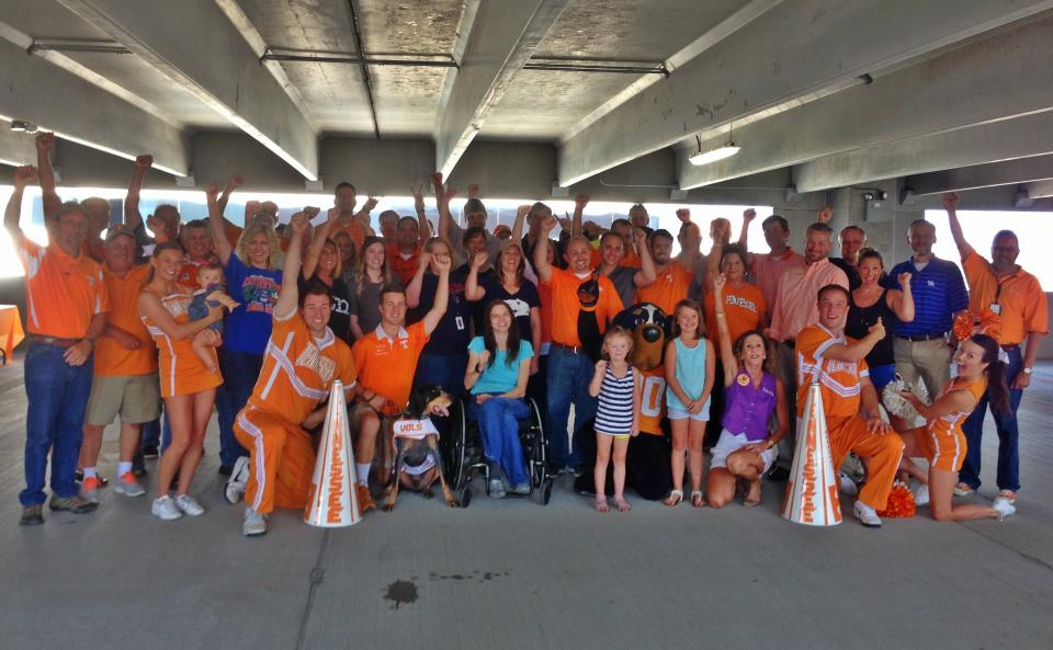 Tailgate party with University of Tennessee cheerleaders