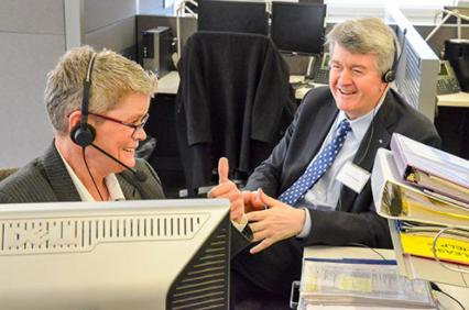 AXA US CEO Mark Pearson experiences our call center technology in action.