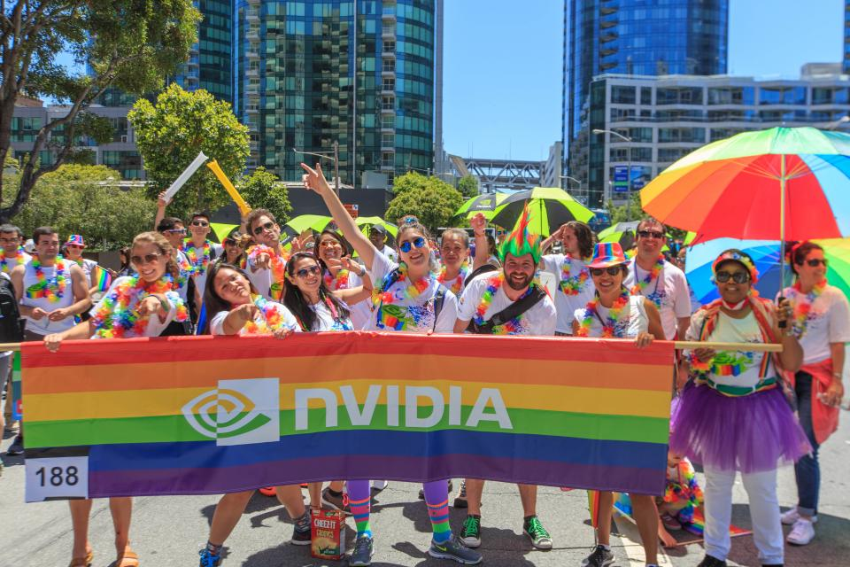 Enthusiastic NVPride members marching in San Francisco's legendary Pride Parade.