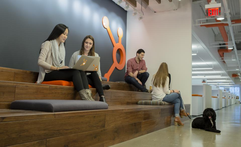 HubSpot's offices feature a large number of open, collaborative, and un-bookable spaces for employees to work. Plus, thanks to the dog-friendly policy, canine companions are never left out.
