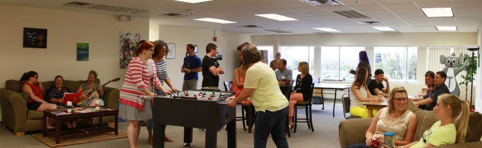 We couldn't spend 40 hours a week at N2 if we didn't like the people we work with. In the N2 lounge, people can eat lunch, play ping pong, and just hang out.
