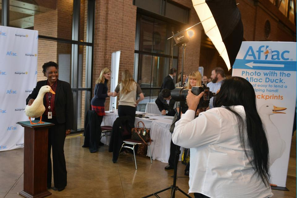 Employees are treated to special photo sessions with the Aflac Duck.