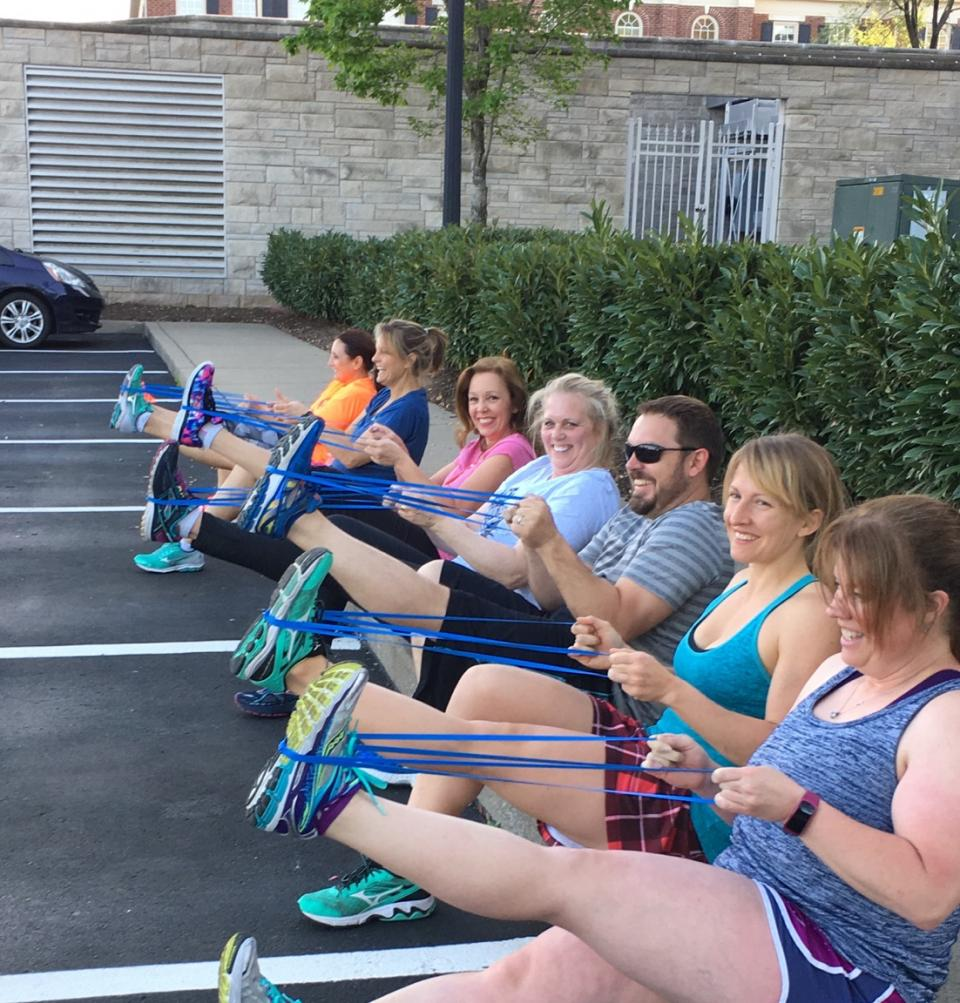 Pinnacle associates participate in on-site fitness classes as a way to improve their health and build camaraderie.