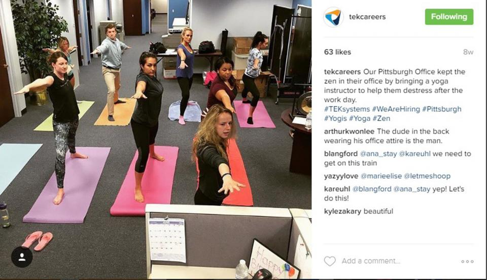 Our Pittsburgh office kept the zen in their office by bringing in a yoga instructor to help them de-stress after the workday!