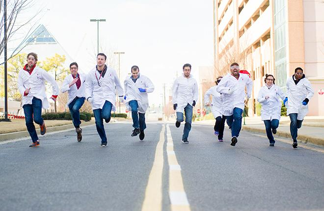 St. Jude researchers took a short break from their dedicated work to show off their speed in the 40-yard dash as part of the Run Rich Run effort to benefit the hospital.