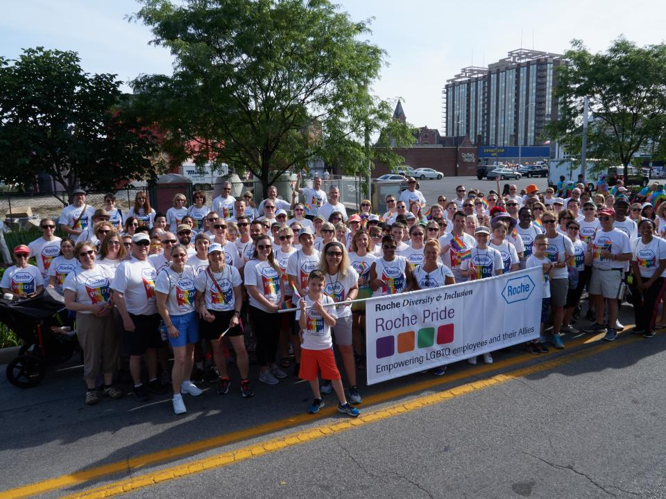 Roche employees show their support at the Indianapolis Pride Parade