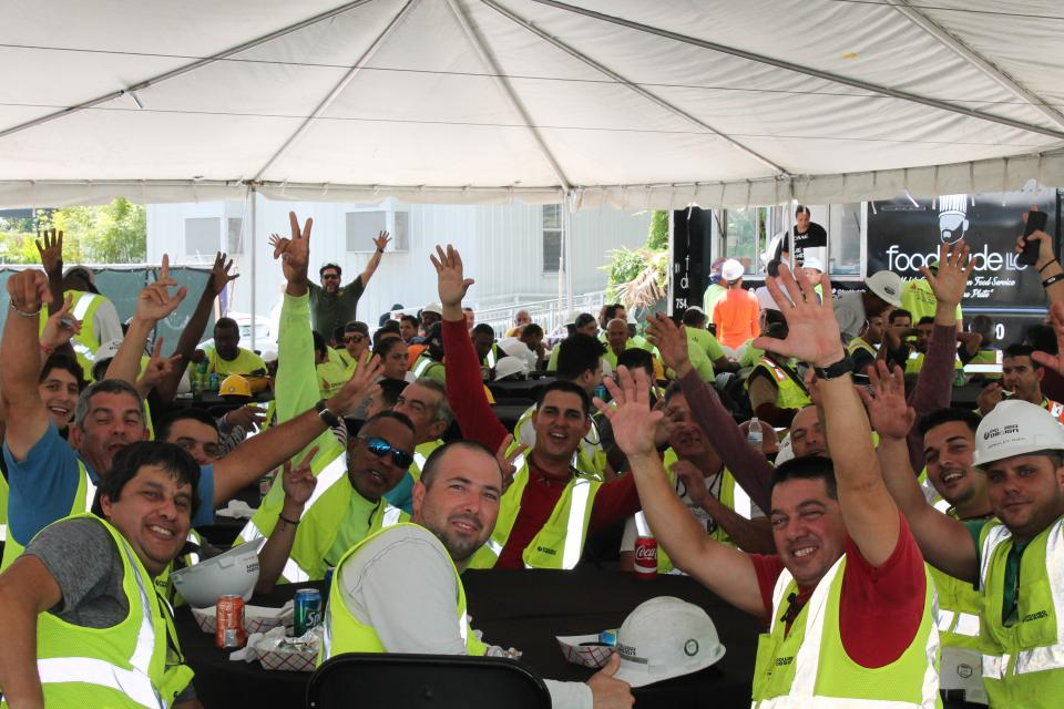 Field Connections are our way of showing field teams some love and appreciation for all their hard work. Everyone is excited when we bring a fully catered lunch and a chance to spin our Wheel-O-Fun for cash prizes up to $500 to a job site!