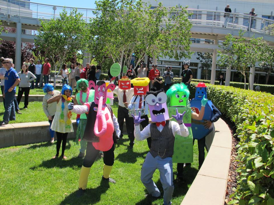 These NVIDIANs engaged in our Room Escape team-building event wore costumes inspired by the Disney film Inside Out.