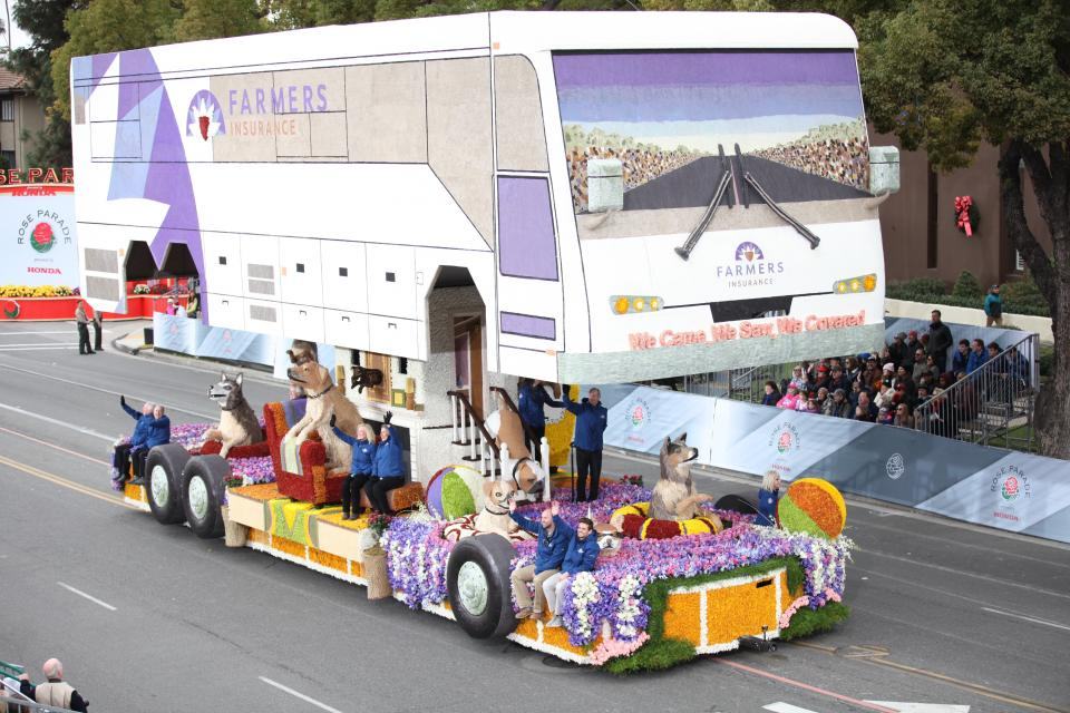 "2017 ""We Came. We Saw. We Covered"" Rose Parade Float won Grand Marshal's trophy of excellence in creative concept and design"