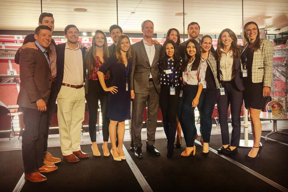 DJ Paoni, president of SAP North America, welcomes SAP Academy students to the employee all hands event at Levi's Stadium in San Ramon, CA.