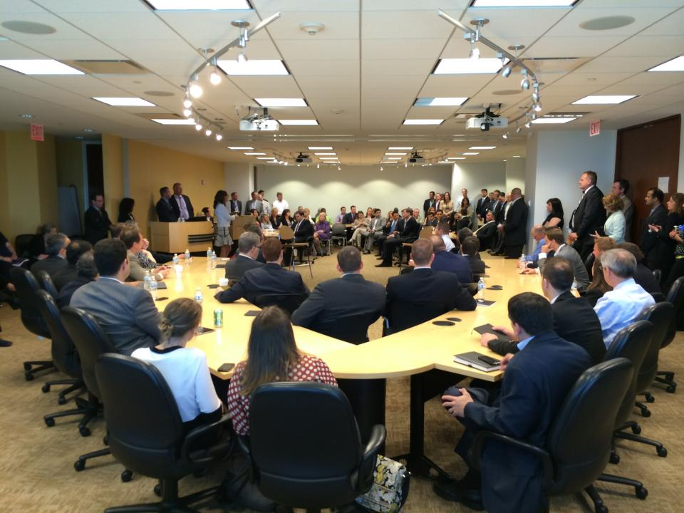 SAP colleagues in the Chicago office gather for a Coffee Corner to listen, learn and share their ideas and feedback