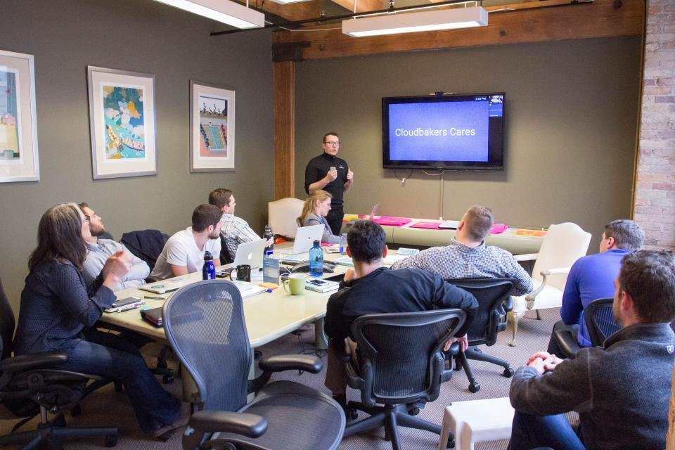 Meeting being held in Cloudbakers' downtown Chicago Office