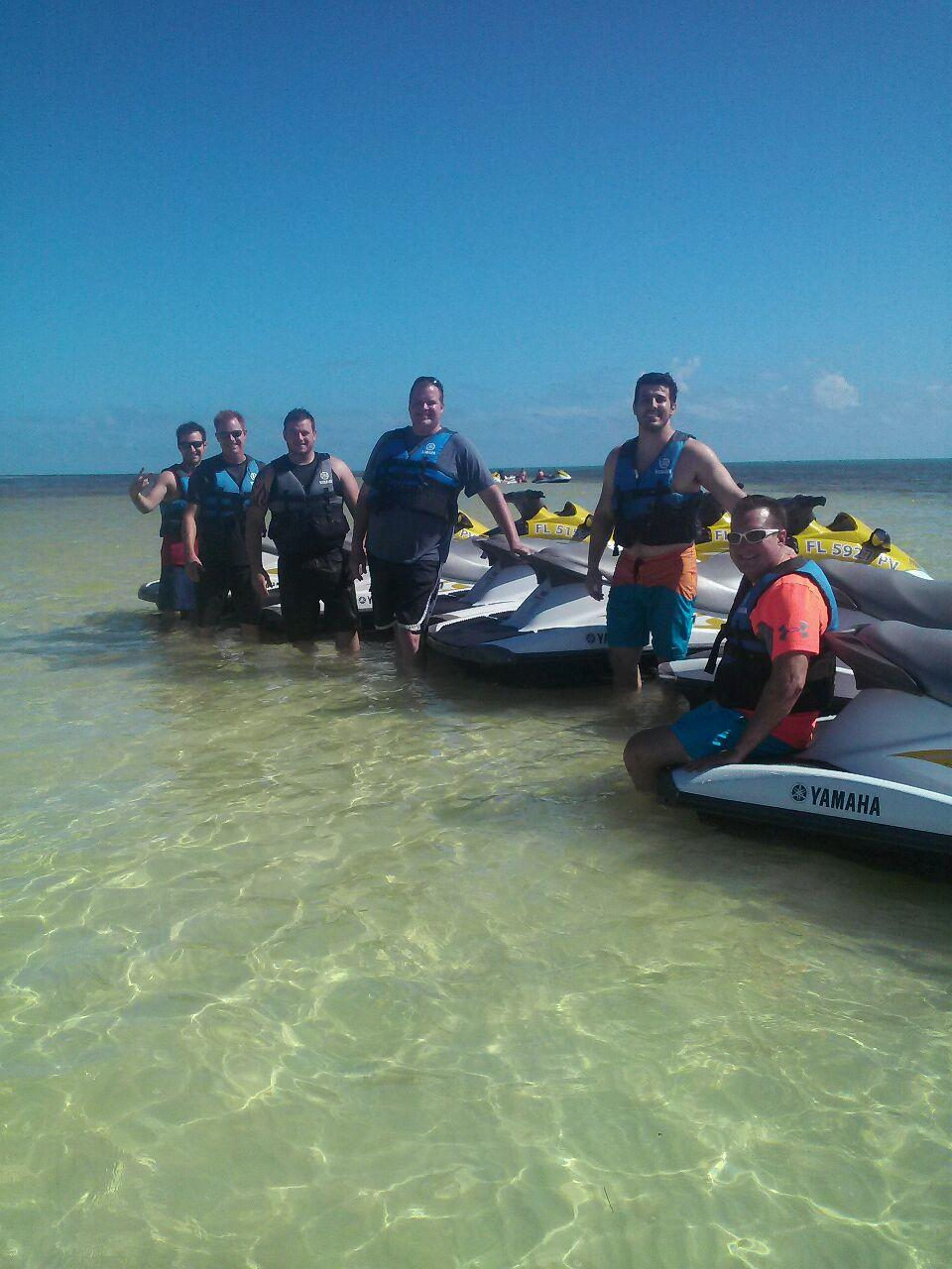 Sales team jet skiing in Florida Keys