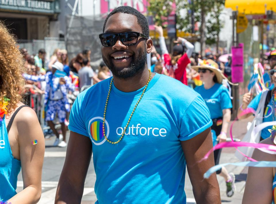 A Salesforce employee at San Francisco Pride 2016