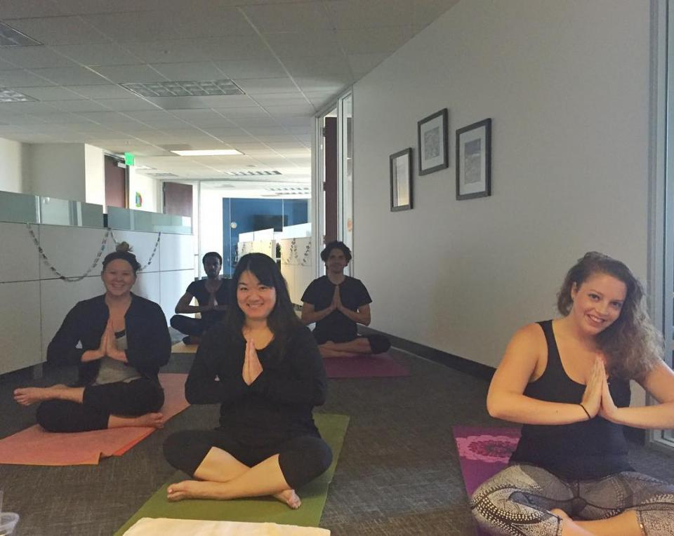 Peppercomm San Fran enjoys an in-office yoga challenge