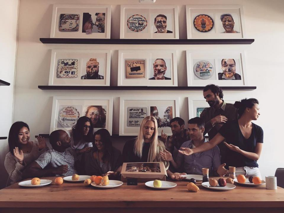 A shot from the enso lunch table, where we eat lunch together ever day provided by the company. The cakes in the backdrop illustrates the way we celebrate wins on a project. For each big headline from a campaign, we get it written out in frosting on a cake, and then sma