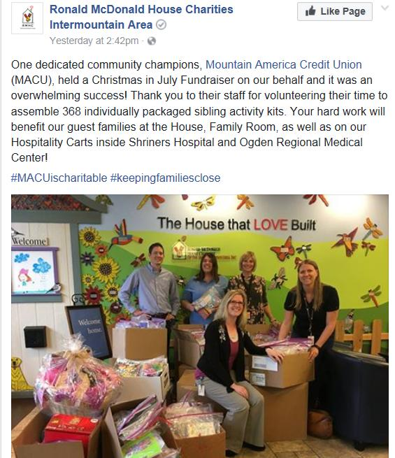 Ronald McDonald House Support
