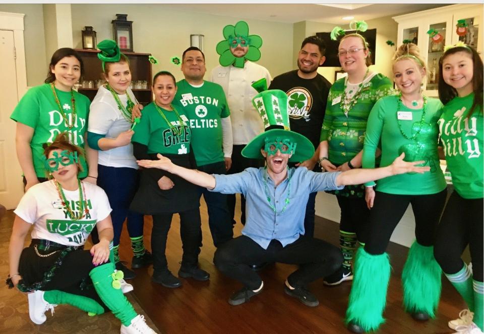 Associates celebrating St. Patrick's Day