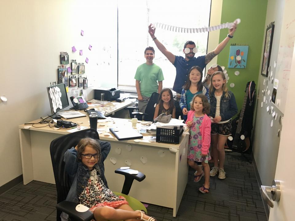 Our Reston office celebrating Bring Your Kids to Work Day.