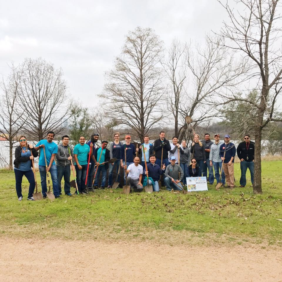 Team Arm Austin helping clean up Lady Bird Lake and plant new gardening beds