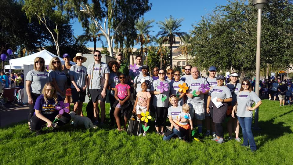 Edward Jones associates in Phoenix, AZ, participate in the Walk to End Alzheimer's. Edward Jones is the National Presenting Sponsor of the walks.