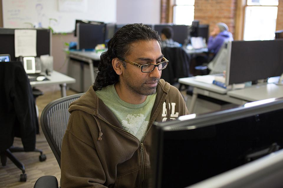 Operations Analyst Rakesh Patel, hard at work.
