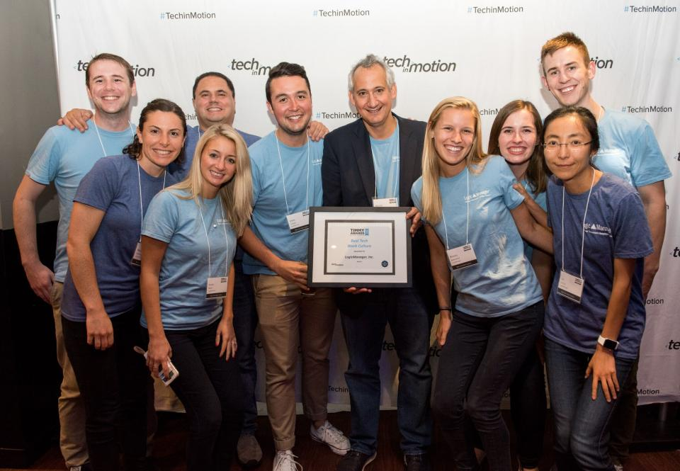 LogicManager accepts a Boston Timmy Award for Best Tech Work Culture.