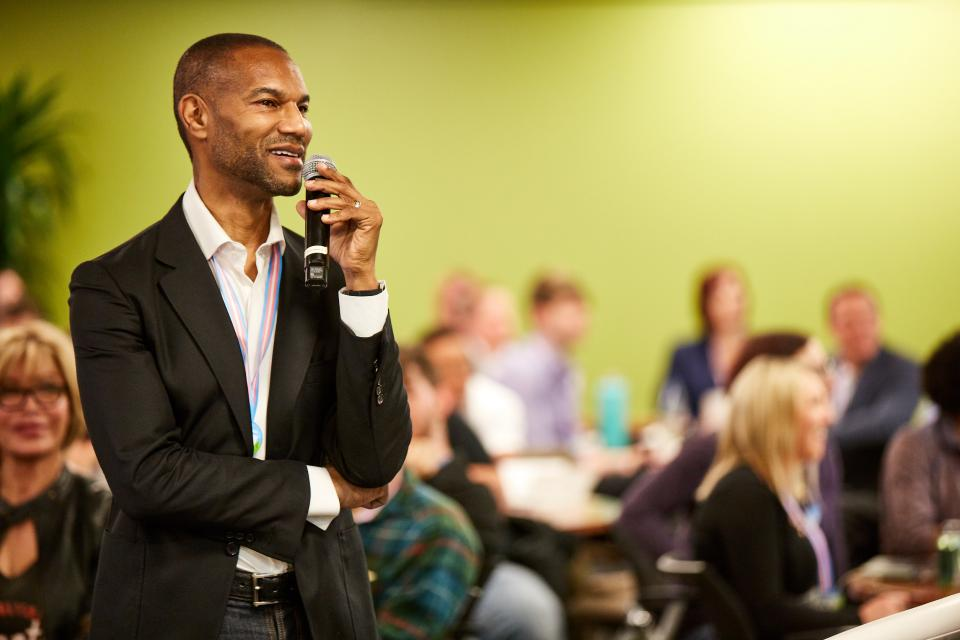 Salesforce Chief Equality Officer Tony Prophet speaks at the Transform Tech Conference