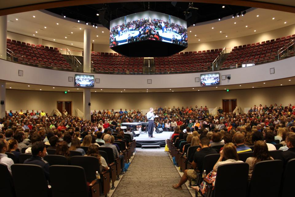 Acuity's company-wide Town Hall meeting held in the new 2,000--seat theatre in the round.