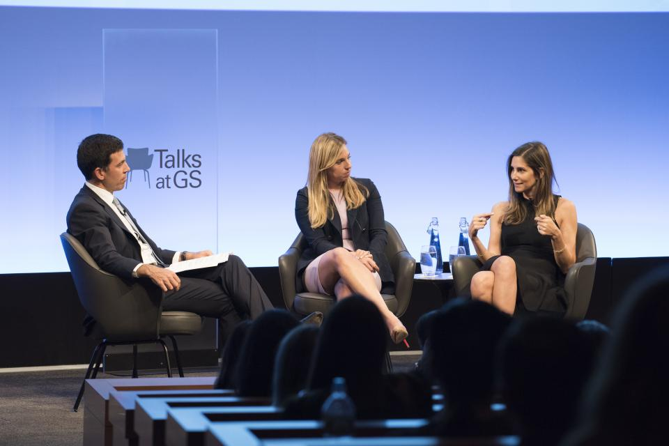 theSkimm co-founders Danielle Weisberg and Carly Zakin during their Talks at GS session 'CHANGING THE FACE – AND FORMAT – OF NEWS.'
