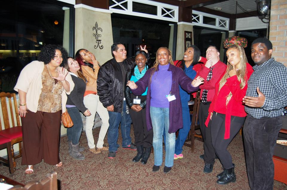 Staff members at the Holiday Dinner