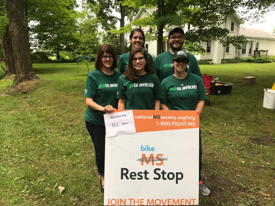 Employees volunteering at the Bike MS event