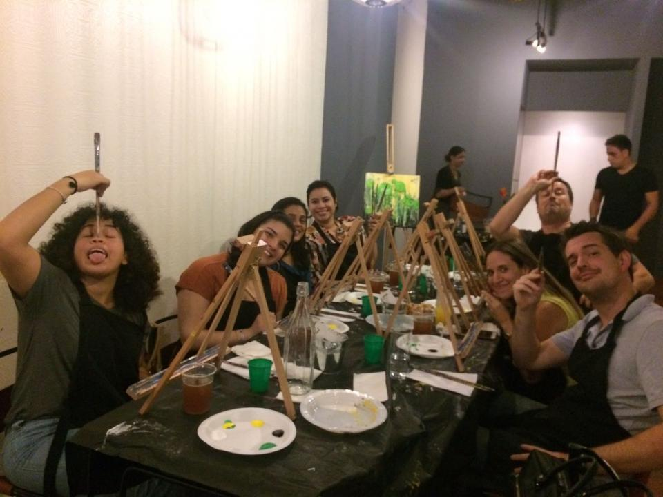 Team bonding over drinks and paint!