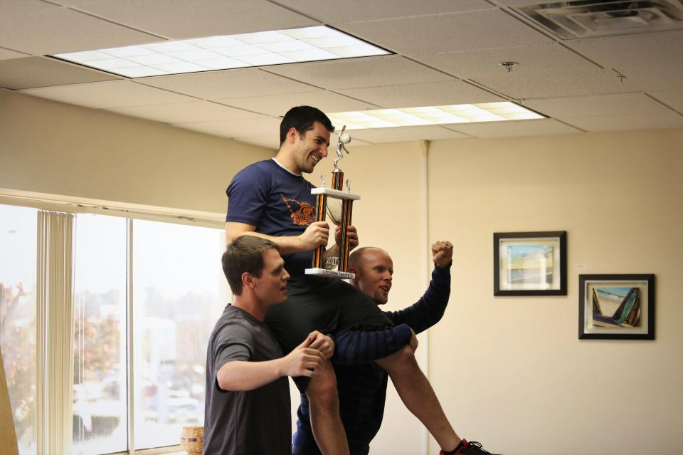 Each year, we hold a company-wide ping pong tournament. The competition can be tough, but nothing beats the feeling of the CEO lifting you up on his shoulders after a victory.