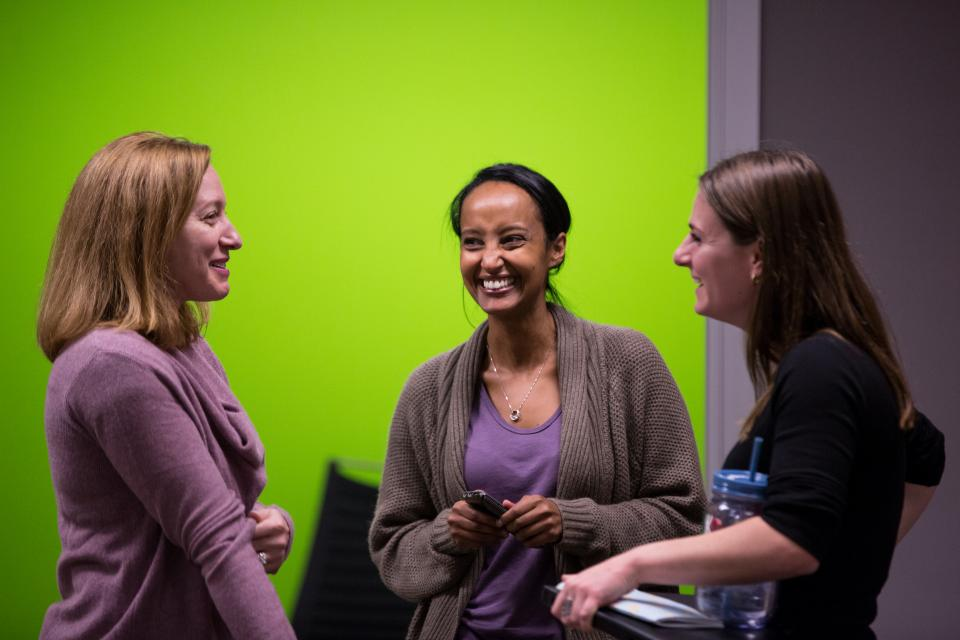 Members of NVIDIA's Women in Technology group network at an internal event.