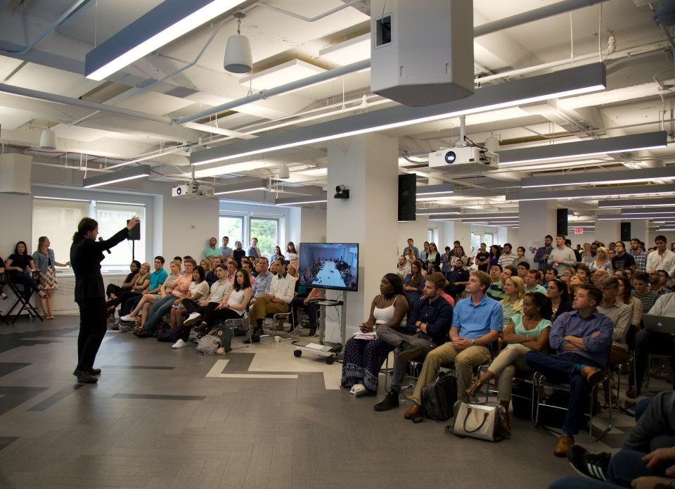Howard Lerman, Yext CEO, hosting Manifesto, the weekly company-wide All Hands
