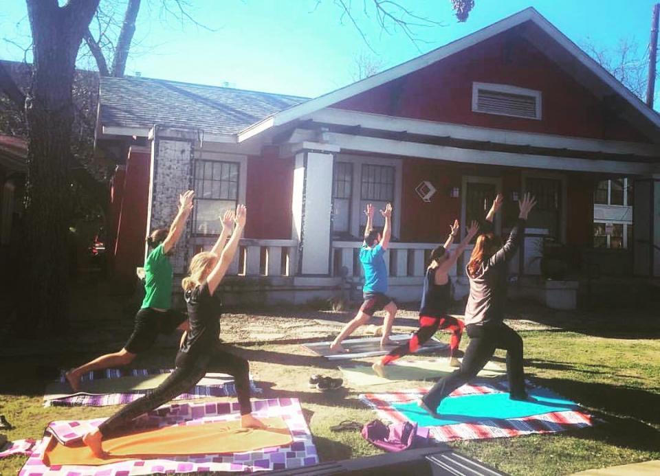 Yoga on the Office Lawn