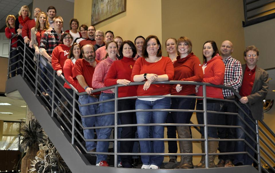 Farnsworth Group offices support a number of charitable organizations and causes. Here, employees support Wear Red for Women Day to support the American Heart Association.