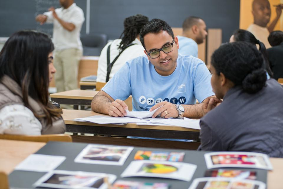 A Goldman Sachs employee at a skills based Community TeamWorks event.