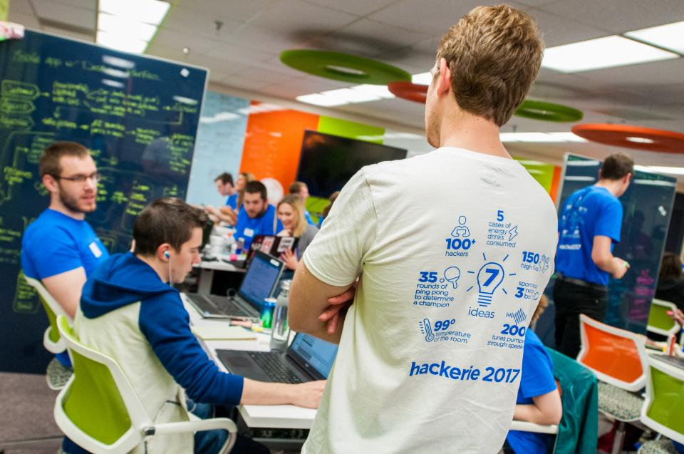 IT apprentices and interns get down to business during the 2017 hackerie. The annual hackathon brings together more than 100 tech and business Employees and leaders. In the 12-hour sprint, teams tackle business issues through creativity and collaboration.