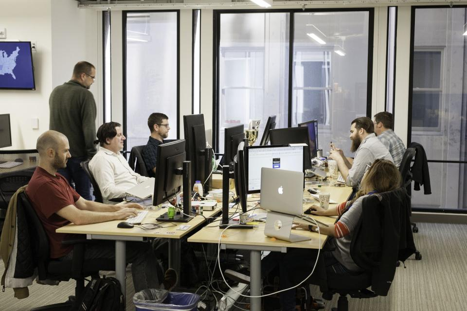 Employees in the SF office enjoy an open and collaborative work space