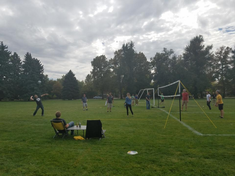 volleyball at company picnic