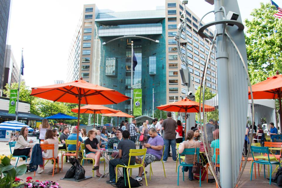 Team members can enjoy the beach bar in the park just steps from Quicken Loans' Downtown Detroit headquarters.