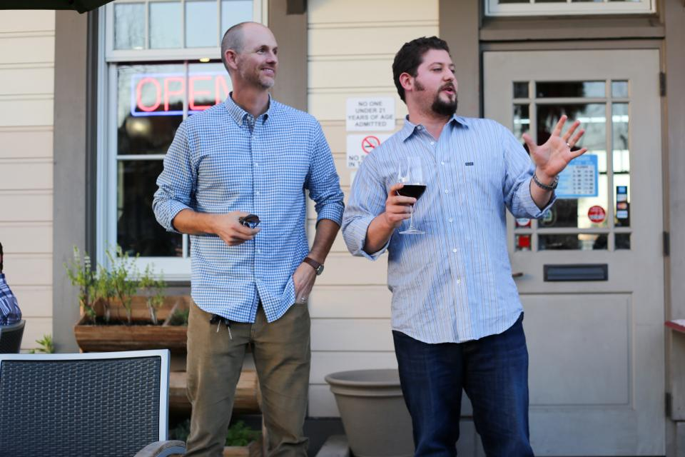 Adrian Ridner (CEO & Co-founder) and Ben Wilson (President & Co-Founder) give a short toast at a company wine outing