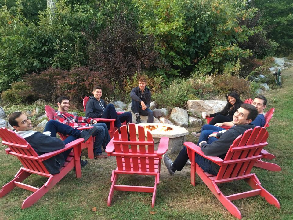 Relaxing before dinner at our Fall 2017 team retreat